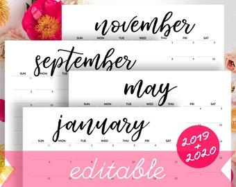 2019 Calendar Printable Desk Calendar Planner Monthly Pages Etsy