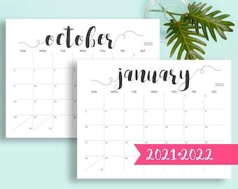 2021 Printable Calendar 2021-2022 Calendar Printable Large Calendar Printable Black and White Calendar A5, A4, A3, A2, US Letter, Tabloid