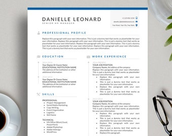 Simple Resume Template Icon Pack Cover Letter References Clean Design Modern Professional Executive CV Word