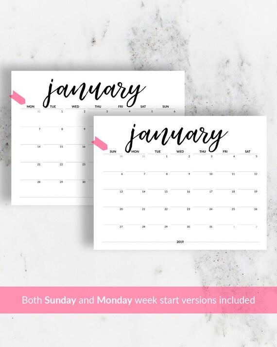 editable calendar 2019 printable calendar to type in 2018 2019 etsy