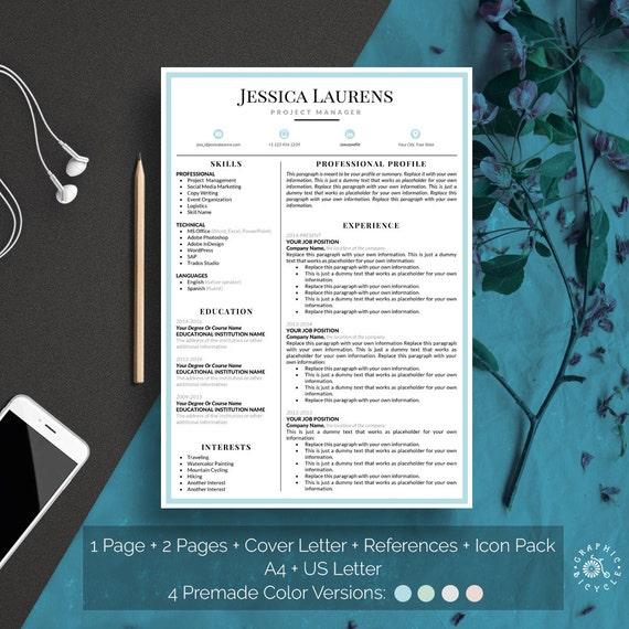 Sauber Lebenslauf Vorlage sofortigen Download CV Vorlage Word | Etsy