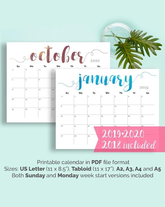 Para Imprimir Calendario 2019 Pared Grande Escritorio Etsy