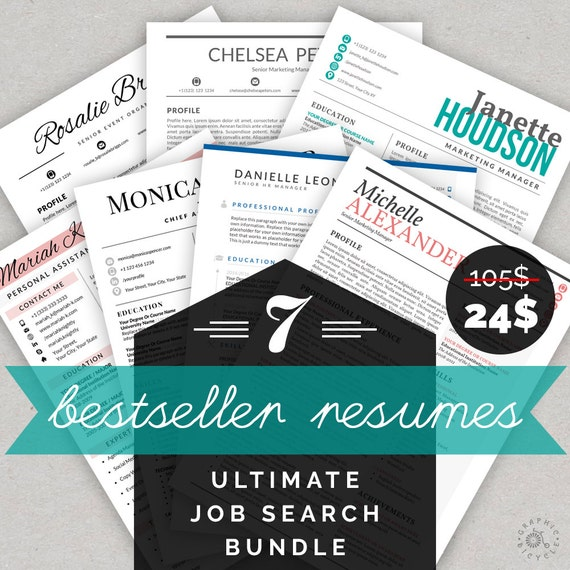 Resume Template Bundle CV Template Bundle Cover Letter | Etsy