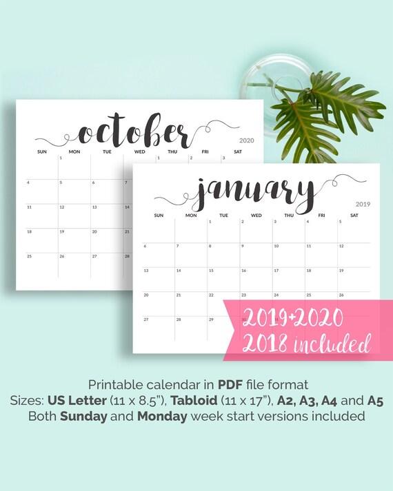 2019 Printable Calendar 2019 2020 Calendar Printable Large Etsy