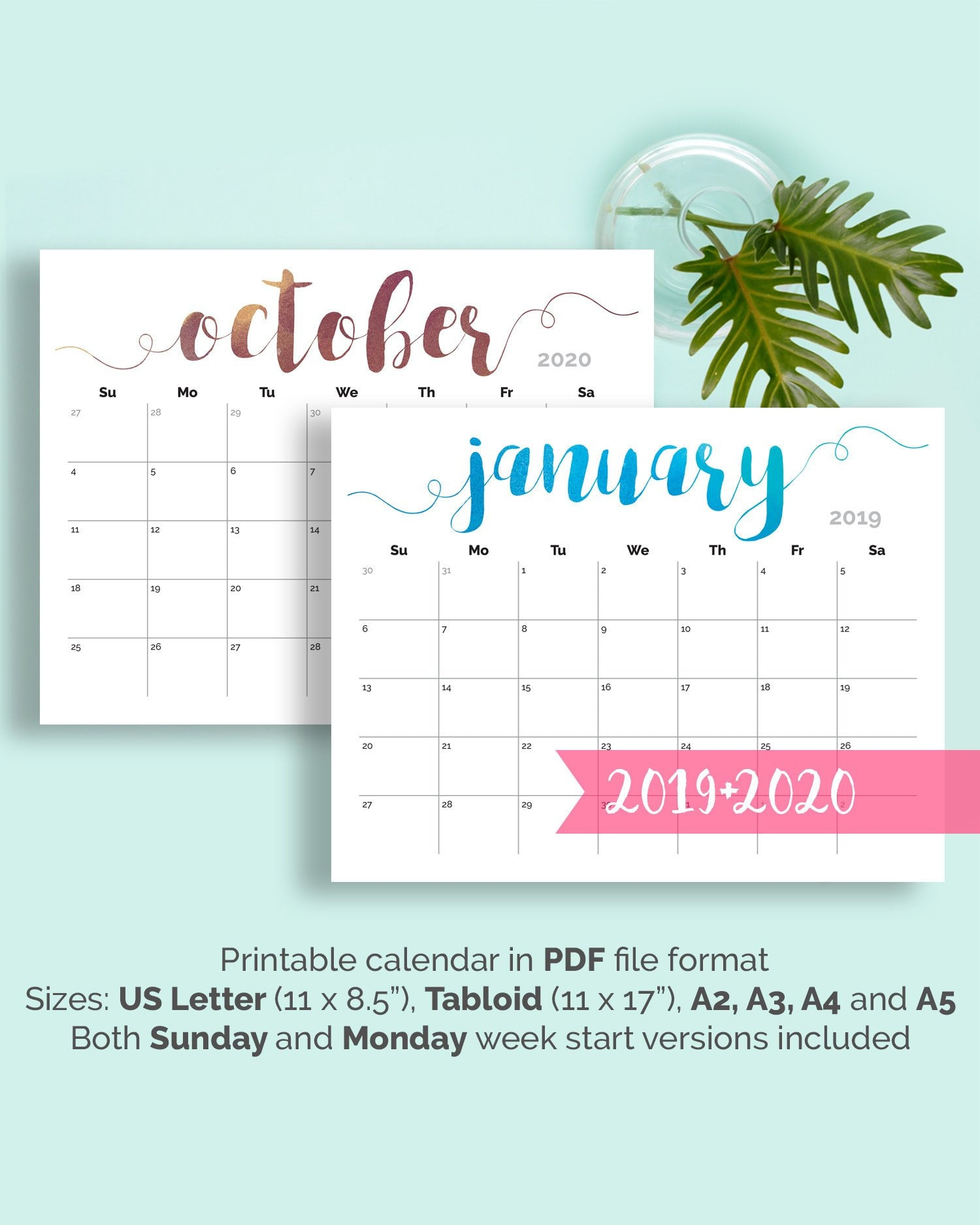 Calendario 2020 Con Foto Gratis.Printable Calendar 2019 Large Wall Calendar 2019 2020 Desk Calendar Large Monthly Pages Printable Pdf Calender 2020 Calendar Printable 2019