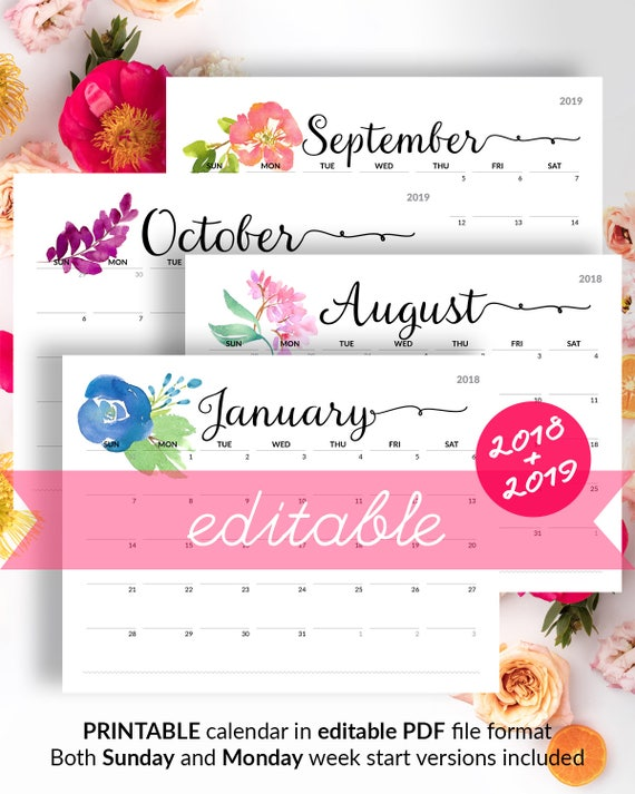 floral calendar printable calendar to type in 2019 wall etsy