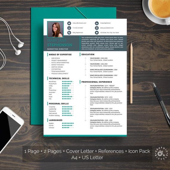 Modèle De Cv Moderne Pour Microsoft Word Modèle De Lettre De Motivation Références Propre Conception Professionnelle Format A4 Lettre Us