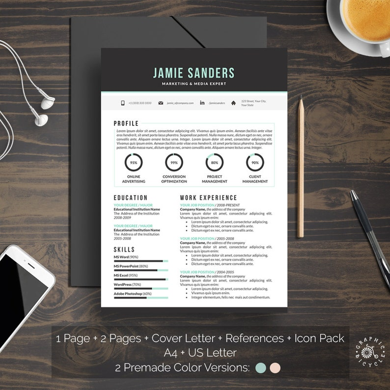 Creative Resume Template Instant Download Elegant Hipster