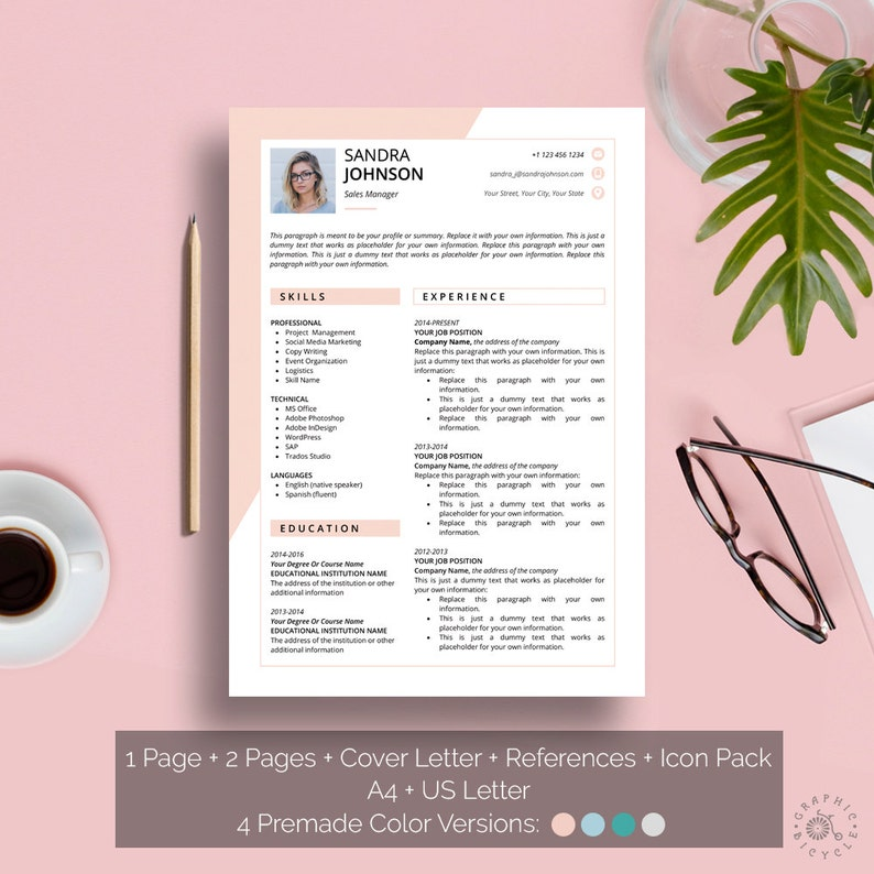 Feminine Resume Template with Photo, Cover Letter Template, References,  Creative Resume Download, Clean Modern Professional CV Template Word