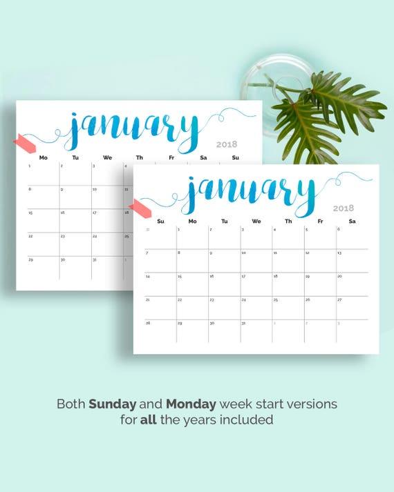 Printable Calendar 2019 Large Wall Calendar 2019 2020 Desk Etsy