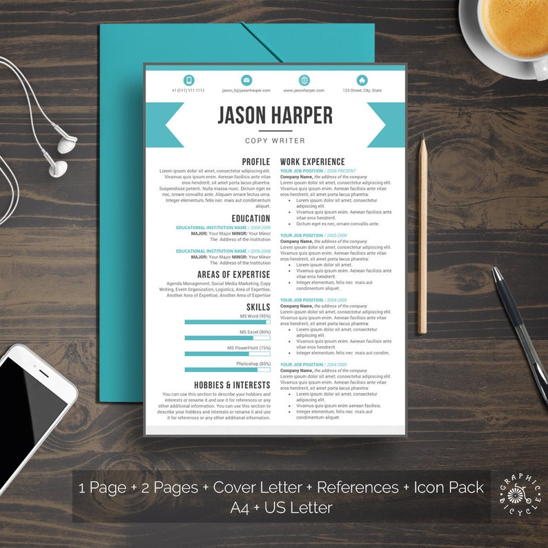 Creative Resume Template CV Word Instant Download