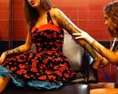 Pinup bat dress, Horror halter dress, Sweetheart neckline