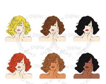 Fashion girl Clipart,Line art,Fashion Lady portrait,Fashion Girl graphics,lady clipart,planner clipart,fashion Illustration INSTANT DOWNLOAD