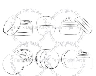 Digital Stamp,Clipart,Line art,Fashion Face cream,Face cream graphics,make up,Digi stamp,digistamp,fashion Illustration INSTANT DOWNLOAD
