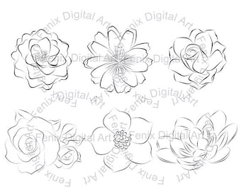 Digital Stamp,Clipart,Line art,Flowers,Flower graphics,Flower stamp,Digi stamp,digistamp,fashion Illustration INSTANT DOWNLOAD