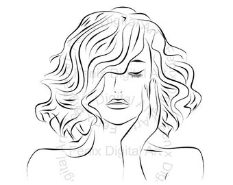 Digital Stamp,Clipart,Line art,Fashion Lady portrait,Fashion Girl graphics,Digi stamp,digistamp,fashion Illustration INSTANT DOWNLOAD