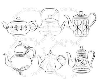 Digital Stamp,Clipart,Line art,Tea pot clipart,Tea pot graphics,Digi stamp,digistamp,Illustration INSTANT DOWNLOAD