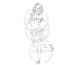 Digital Stamp,Clipart,Line art,Fashion Lady,Fashion Girl graphics,Digi stamp,digistamp,Art print,fashion Illustration INSTANT DOWNLOAD