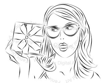 Digital Stamp,Clipart,Line art,Pin up Lady portrait,Pin up Girl graphics,Digi stamp,digistamp,fashion Illustration INSTANT DOWNLOAD