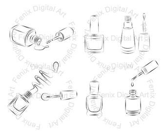 Digital Stamp,Clipart,Line art,Fashion Nail polish, Nail polish graphics,make up,Digi stamp,digistamp,fashion Illustration INSTANT DOWNLOAD