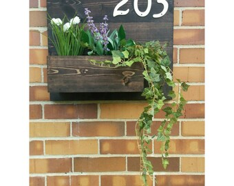 Rustic Address Planter, Address Sign, House Numbers Sign, Address Plaque, New House, Address Planter, Horizontal Address Sign
