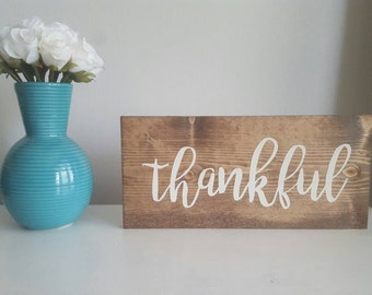 Thankful Sign, Thankful Wooden Sign, Wood Thankful Sign, Thankful Wall Decor, Thankful Mantle Decor, Thankful Sign Wood, Thankful, Fall
