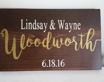 Wedding Sign, Wedding Couple Sign, Bride and Groom Sign, Family Name Sign, Wedding Sign Gift, Last Name Sign, Wedding Memento