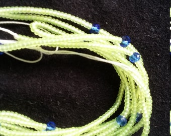 Neon matt lemon yellow custom made waist beads with crystals stranded on beading wire, read item details and leave size