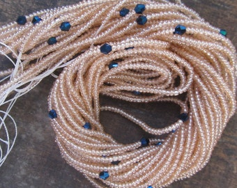 Pastel colors custom made waist beads with crystals stranded on beading wire, 4 different shades, read item details and leave size