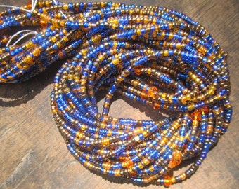 Multicolored custom made waist beads with crystals stranded on beading wire, read item details and leave size