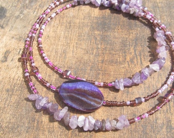 VIOLA custom made waist beads, African amethyst chips, glass beads, crystals, read item details and leave size