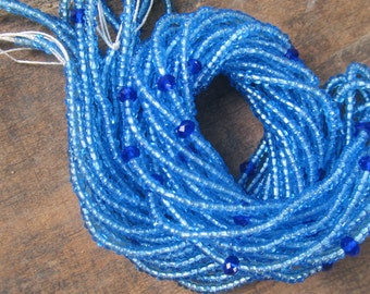Blue colors custom made waist beads with crystals stranded on beading wire, 5 different shades, read item details and leave size