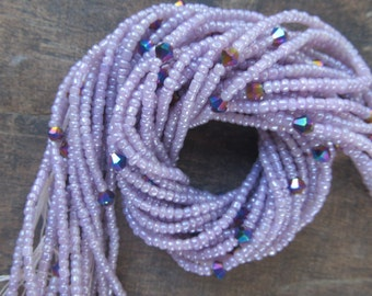 Purple and lilac waist beads with crystals, stranded on cotton thread, 42/44 inches