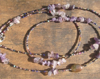 LILLY custom made waist beads, African amethyst chips, very tiny Miyuki seed beads, read item details and leave size