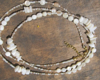 CREMA custom made waist beads, glass beads, creamy dyed natural stones, ivory white/pinky beige seed beads, read item details and leave size