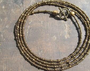 RITMO custom made waist beads, bronze tone seed beads, Fair Trade, read item details and leave size