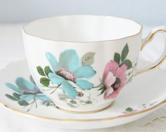 Vintage Royal Grafton Bone China Cup and Saucer, Blue and Pink Flower Decor, England