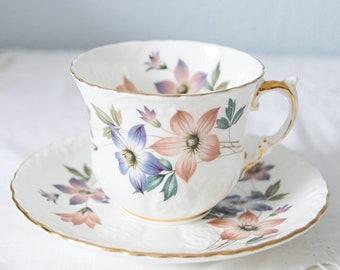 Elegant Vintage Aynsley Bone China Cup and Saucer, Flower Decor, England