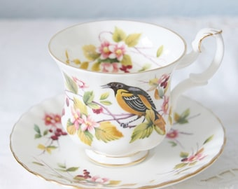 Hard To Find Vintage Royal Albert Bone China Woodland Series 'Baltimore Oriole' Cup and Saucer, Lady Size, England
