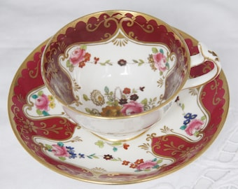 Beautiful Vintage Porcelain Teacup and Saucer, Handpainted Flower Decor, Mismatched Cup and Saucer, Custom Made for C. Hoyng