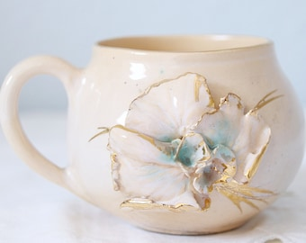 Rare Antique Mug, Cream and Salmon Pink, 3D Flower, Hand Painted