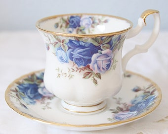 Vintage Royal Albert Bone China 'Moonlight Rose' Lady Size Cup and Saucer, England