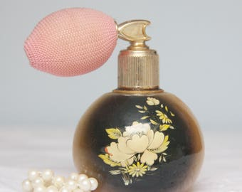 Vintage Albaster Perfume Bottle with Pink Automizer, Hand Carved Flower Decor