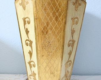 Vintage Florentine Wooden Waste Basket, Gold and Cream Plant Holder, Umbrella Holder, Boudoir Style, Italy