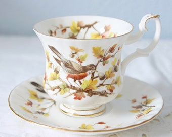 Hard To Find Vintage Royal Albert Bone China Woodland Series 'Robin' Cup and Saucer, Lady Size, England