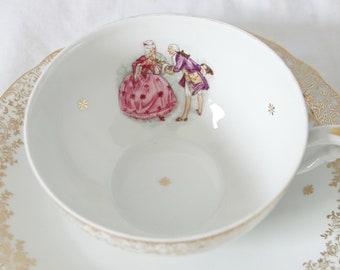 Large Vintage Breakfast Cup and Saucer, Tea-or  Café au Lait Cup and Saucer, Fragonard Decor, Veritable Porcelaine, France