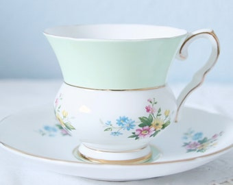 Vintage Royal Stafford Bone China  Cup and Saucer, Duo Color Cup,  Flower Decor, England
