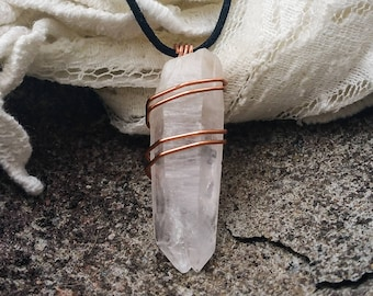 wire wrapped quartz / quartz pendant / copper wire / wire wrap crystal / white quartz necklace / simple wire wrap / crystal necklace / gift