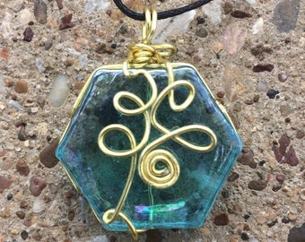 Wire Wrapped Blue Glass Hexagon Pendant w/ Gold Colored Wire