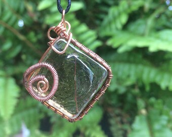 weaved wire pendant / bare copper wire / brown glass rhombus / glass tile necklace / steampunk Pendant / Antique Style / Gift for Mom /